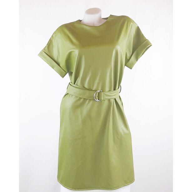 Műbőr pisztácia zöld mini ruha ,kis táskával