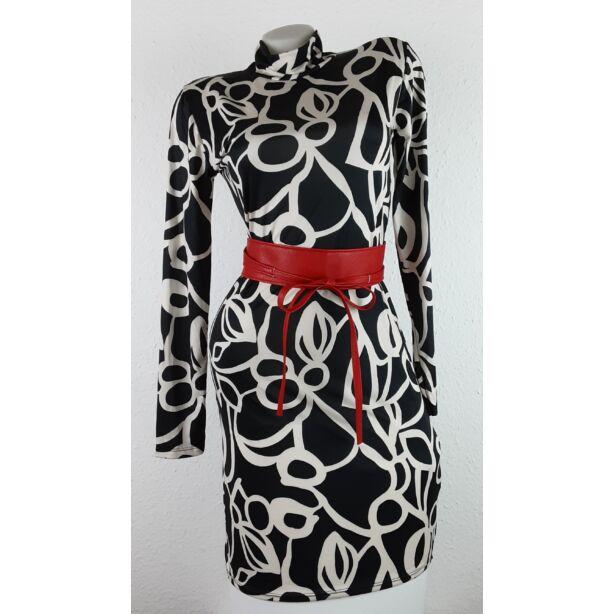 Fekete-krém mIntás félgarbós ruha