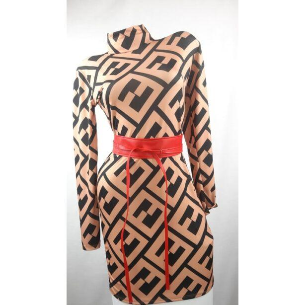 Barna alapon fekete mintás félgarbós ruha
