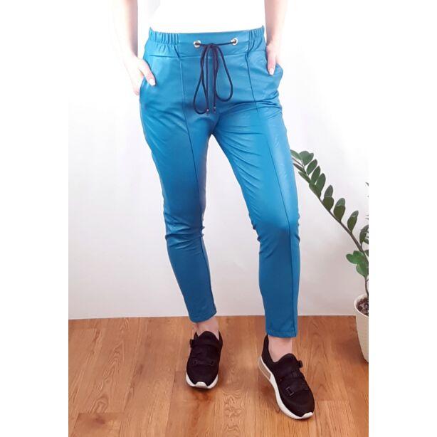 Tenger kék gumis derekú műbőr nadrág