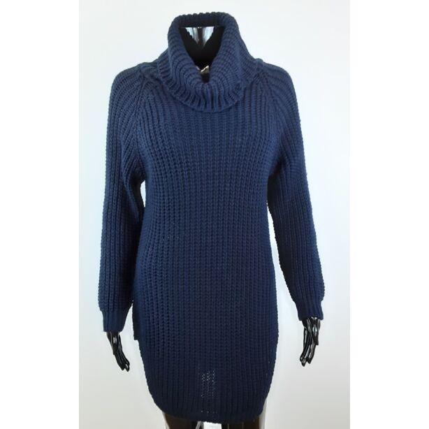 Magasnyakú sötétkék pulóver