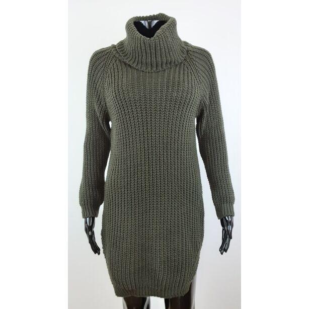 Magasnyakú khakizöld pulóver