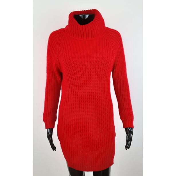 Magasnyakú piros pulóver