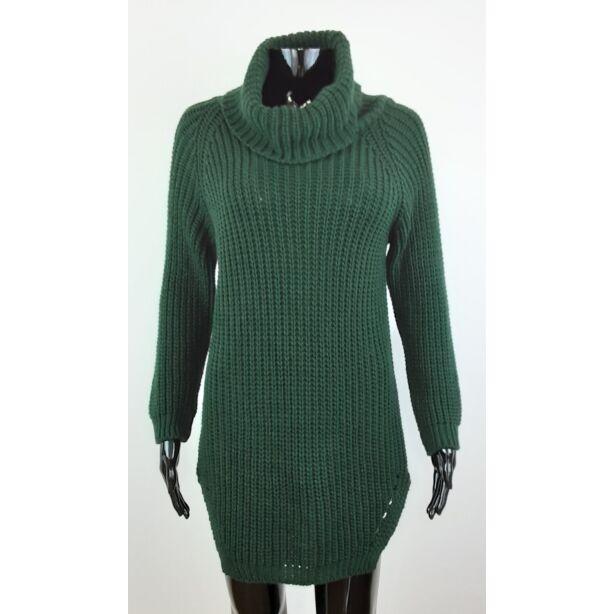 Magasnyakú sötétzöld pulóver