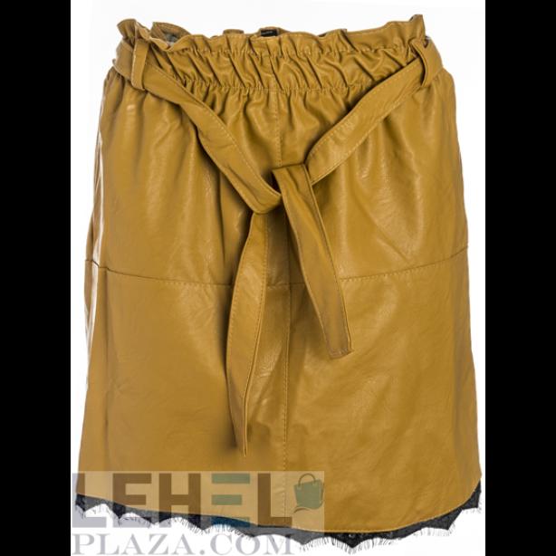 Bőrhatású mustár sárga mini szoknya