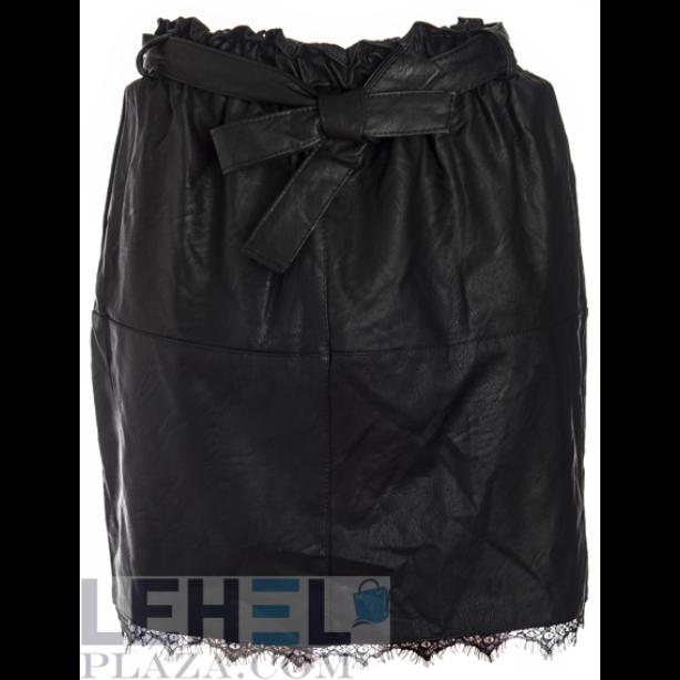 Bőrhatású fekete mini szoknya
