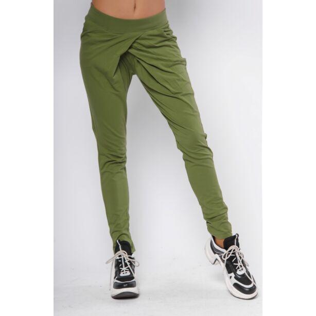 Átlapolt pamut khaki zöld nadrág