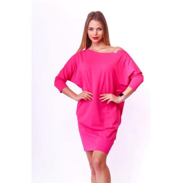 Oldalzsebes laza fazonú pink ruha