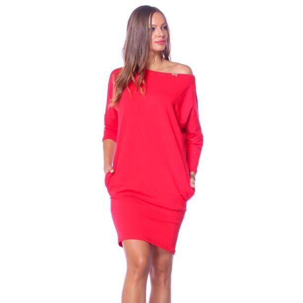 Oldalzsebes laza fazonú piros ruha