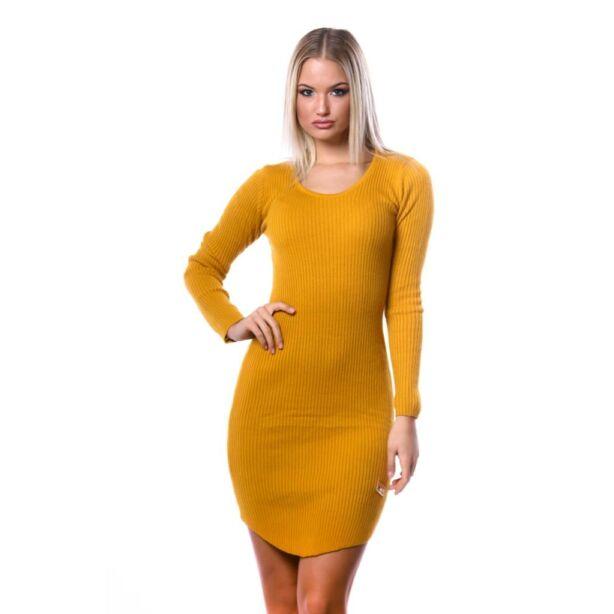 Kerek nyakú kötött mustár ruha
