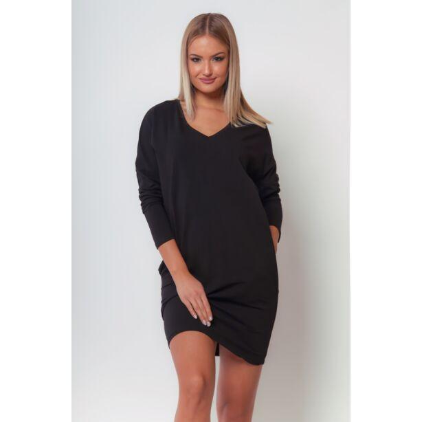 Bő szabású fekete mini ruha