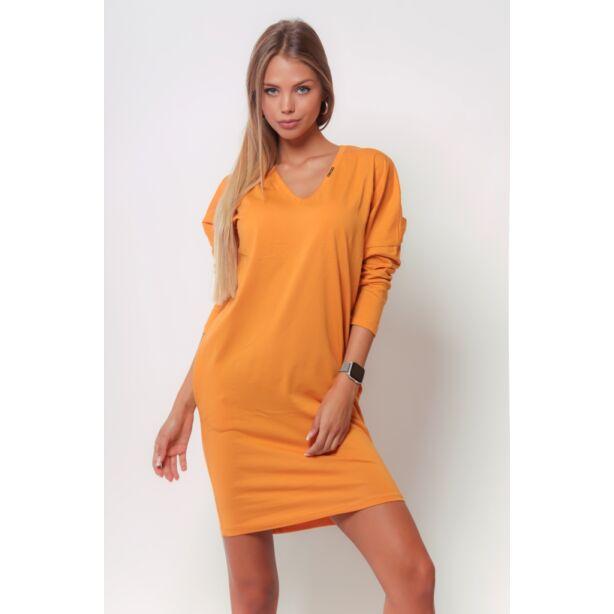 Bő szabású mustár sárga mini ruha