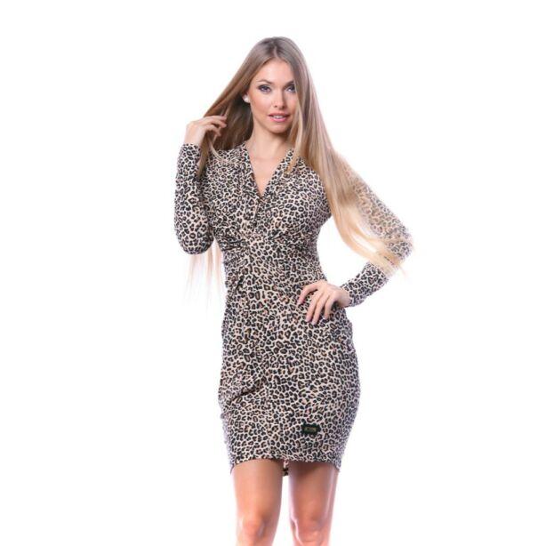 Elől csavart barna leopárdmintás ruha