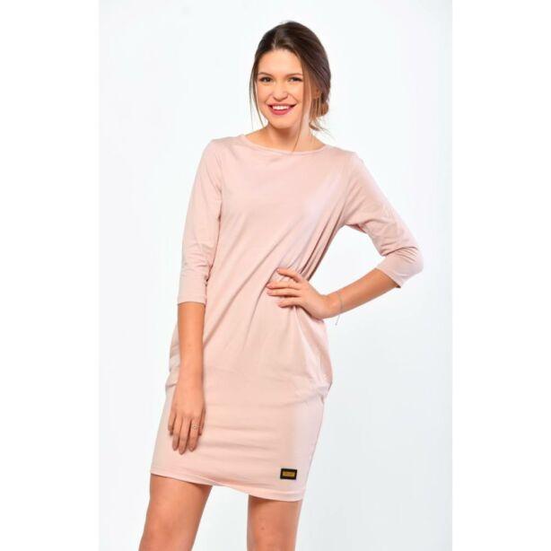 Oldalzsebes púder színű mini ruha