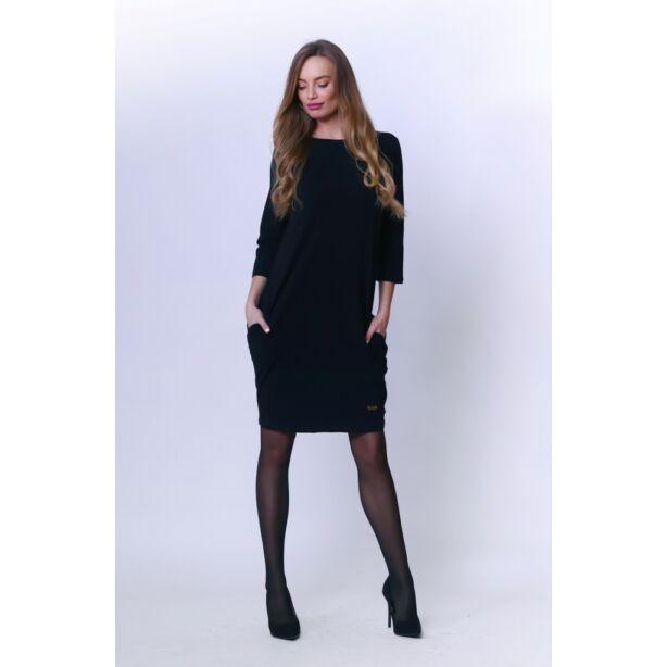 Oldalzsebes fekete mini ruha
