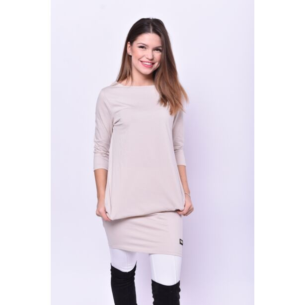 Oldalzsebes drapp mini ruha