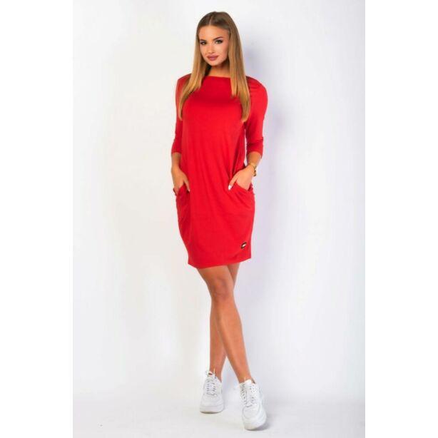 Oldalzsebes piros mini ruha