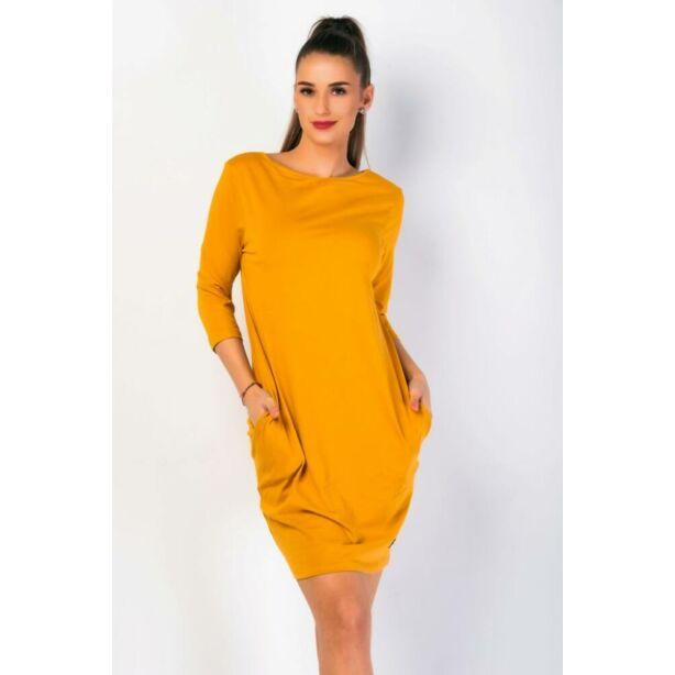 Oldalzsebes mustársárga mini ruha