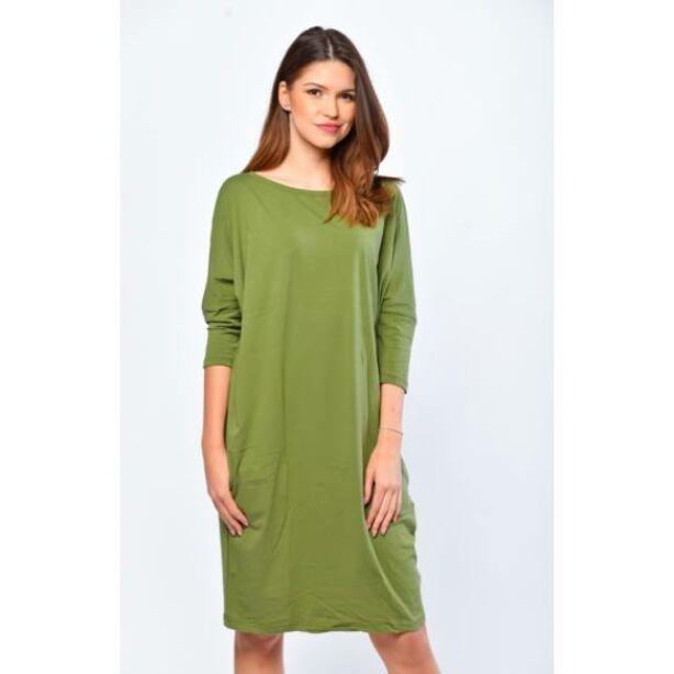 Oldalzsebes khaki zöld mini ruha