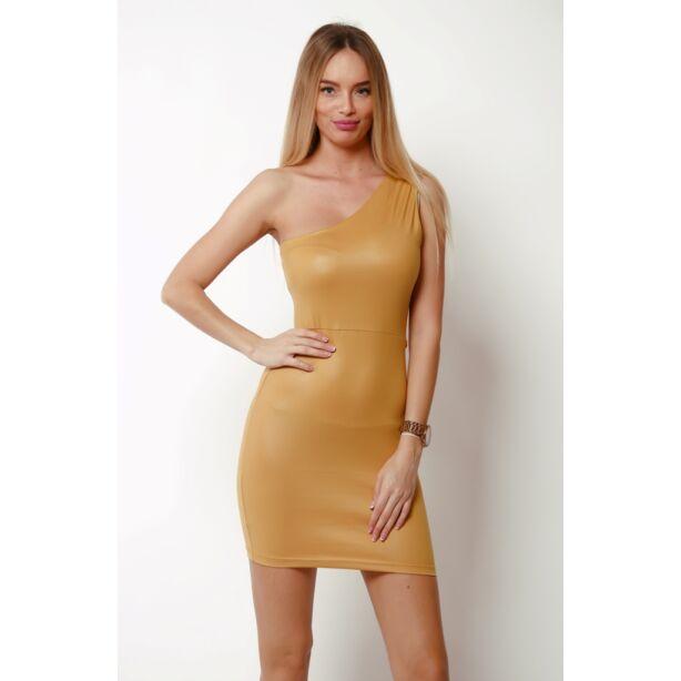 Félvállas aranysárga mini ruha