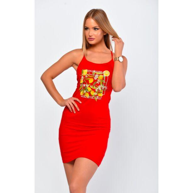 Spagetti pántos piros ruha