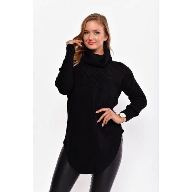 Kerekített aljú lezser fekete pulcsi