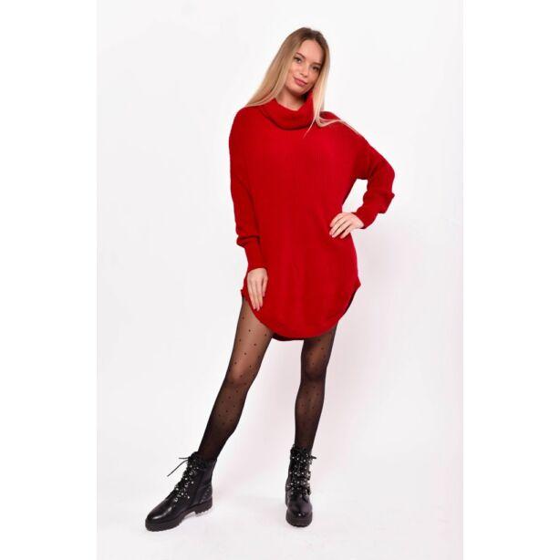 Kerekített aljú lezser piros pulcsi