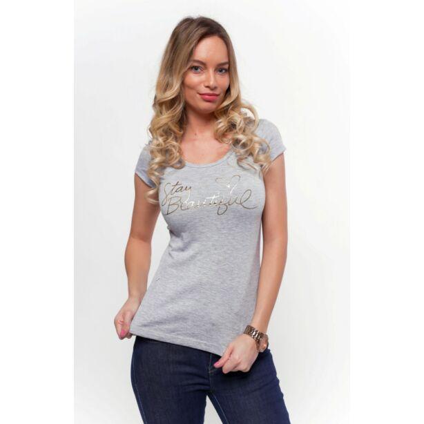 Stay Beautifull nyomott mintás szürke póló