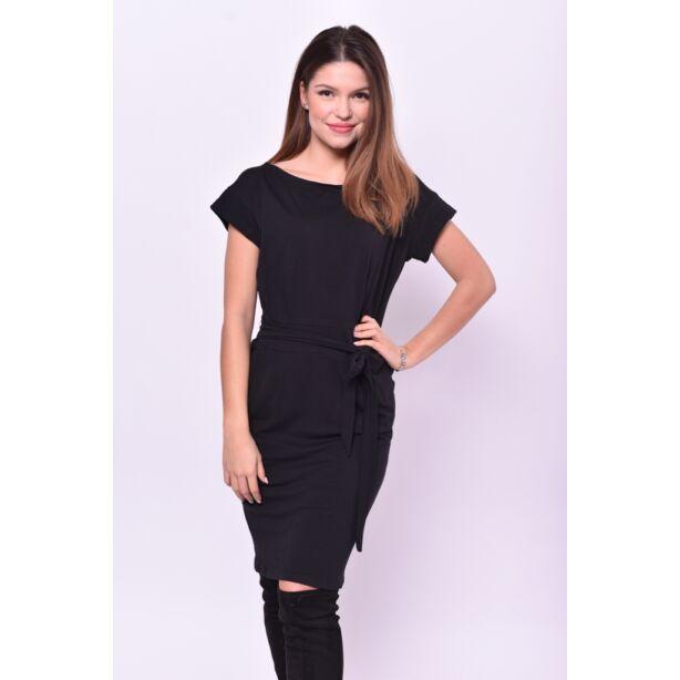 Fekete  zsebes,öves ruha