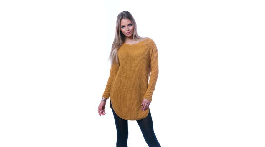 Kerekített aljú laza mustár sárga pulóver Katt rá a felnagyításhoz c6181a2436